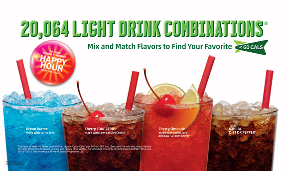 20,064 Light Drink Combinations. Mix and match flavors to find your favorite.