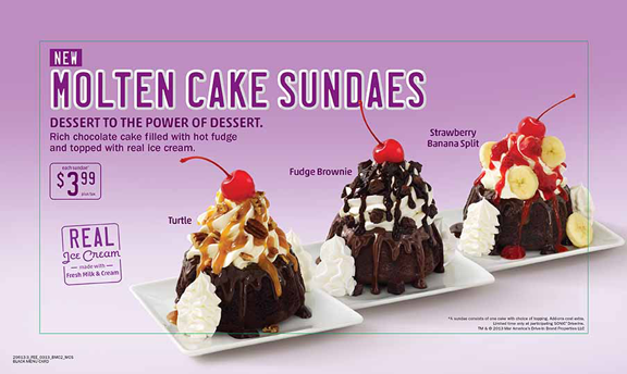 Dessert to the power of dessert. Rich chocolate cake filled with hot fudge and topped with real ice cream.