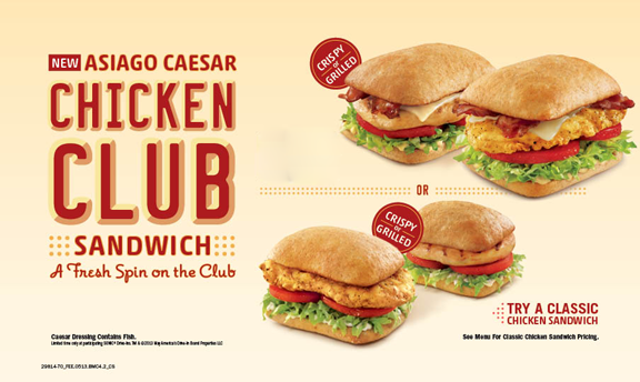 Asiago Caesar Chicken Club Sandwich. A fresh spin on the club.