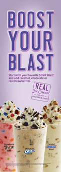 Start with your favorite SONIC blast and add caramel, chocolate, or real strawberries.