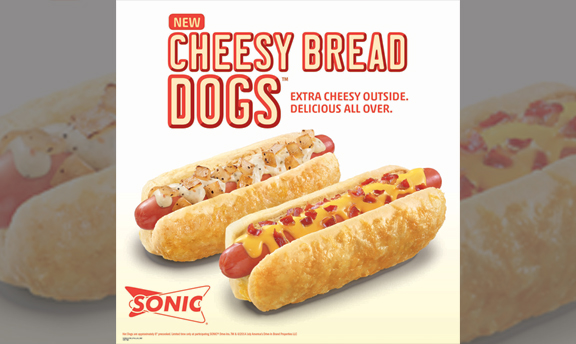 Cheesy Bread Dogs. Extra cheesy outside. Delicious all over.