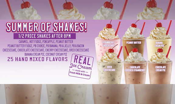Summer of shakes! Half price shakes after 8PM. 25 hand mixed flavors. Real ice cream made with fresh milk and cream.