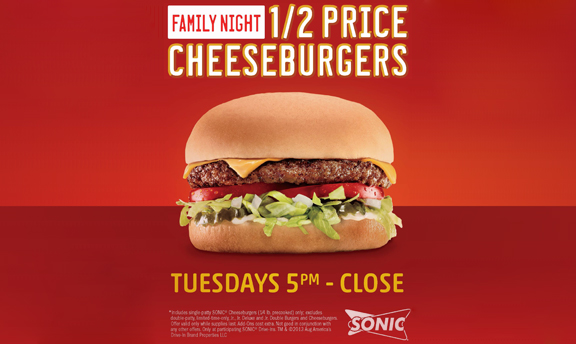 Half price cheese burgers. Tuesday, 5 PM - close.